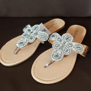 Rhinestone slide sandals